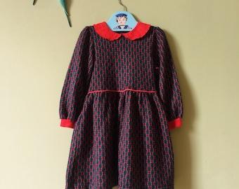 Girls vintage dress/ girls dress. Tartan, red & green. Peter Pan collar. 1980s. Approx age 5 years