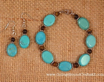 Turquoise & Tiger Eye Bracelet and Earrings Set in Silver -- FREE SHIPPING!!!