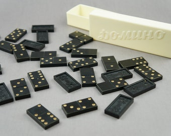 dominoes, dominoes game, Board game, domino USSR, USSR game, vintage games, educational games, USSR, black Domino