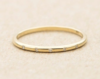 "Diamond ""Spacing"" Solid 14K Gold Wedding Band Stacking Ring AD1214"