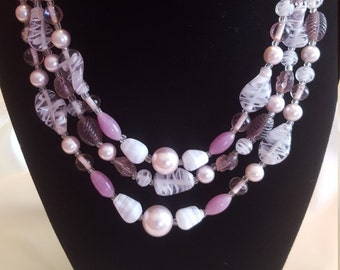JAPAN Vintage Multi Strand Necklace Pinks Mauves Whites Clear Silver Tone Metal
