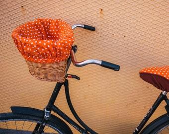 Fun bike basket, basket with liner, bike basket, natural wicker, wicker basket, basket with fabric, basket for bike, basket, pet basket