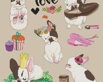 "Cross Stitch Pattern ""So Pretty Dogs"""