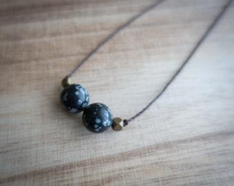 Necklace Bohemian jewelry snowflake obsidian, necklace Bohemian snowflake obsidian tribal boho hippie chic jewelry pendant of snowflake obsidian