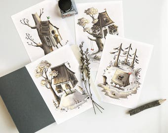 Welcome home postcards and kraft envelopes • Minimalist postcard • Illustrated  cards • Set of cards • Greeting cards • Vintage style