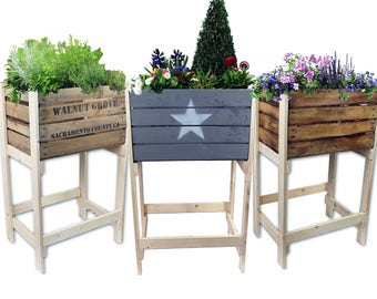 Handmade high bed from old crates / wine boxes - planter, herb, plant box
