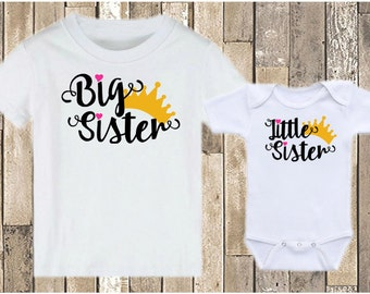 Big Sister Little Sister Crowns - Matching Sister Shirts