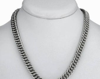 16 Inch Handmade Link Necklace Interlocking Argentium Silver