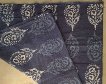 FABRIC/cotton/INDIGO/ 108 x 113 cm/Made in India/Hand block print/ Rajasthan/Free Shipment