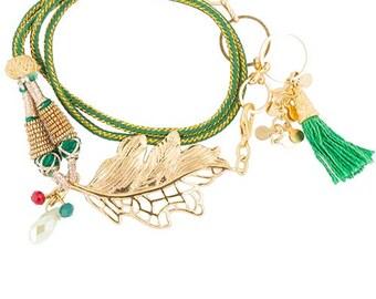 Bracelet cord wrap Green gold leaf pendant beaded tassel