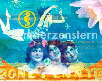"Postcard ""Nymphs and mermaids"" (17), greeting card, birthday card, girls, women, water, swimming, summer, swimming, vacation"