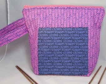 Knitted Print in Fuschia, Square bottom Large Zipper Bag for Knitting/ Crochet/ Fiber Arts; Project Tote
