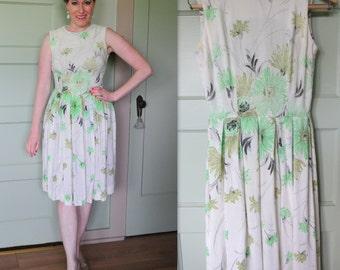 Vintage Dress, 60s, Dress, Vintage, Green, Floral, 60s Dress, Cute Dress, Pleated Skirt, White Dress, Handmade, Lime Green, Easter, Spring