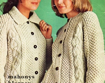 vintage ladies aran jackets knitting pattern pdf womens cable cardigans 34-42 inch aran worsted 10ply Instant download
