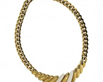 1980's Gold Tone and White Classic Vintage Necklace
