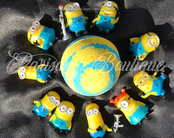 Cute Handcrafted Minion Bath Bombs with Minions Character Inside available in 2 sizes!