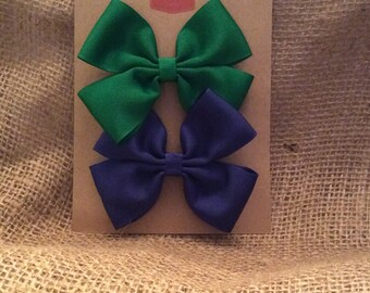 Two 3-inch Hair Bows - 1 Green, 1 Blue