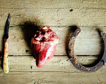 Photo Greeting Card Blank Inside I Love You Knife Heart Horseshoe Blood Macabre Valentine