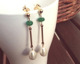 Silver Earrings with gold bath, pearls and emeralds