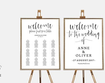 Seating chart template, Wedding welcome sign printable wedding signs, Rustic wedding sign, Editable wedding signs, Seating plan, Table chart
