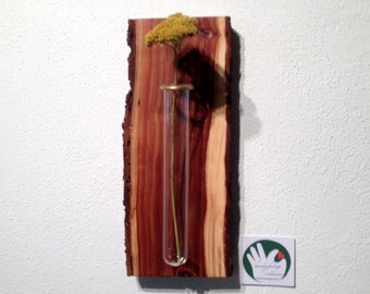 Wall decoration with vase, plums/prunes-wood - handmade