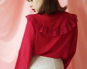 Vintage 1980s Victorian Style Red Ruffle Lace Blouse With Bow Tie Neck Details & Bishop Sleeves.