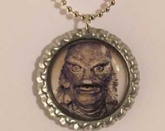Creature From the Black Lagoon Bottle Cap Pendant