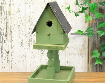 Rustic Wooden Birdhouse & Birdfeeder With Tin Roof (4 Assorted Colors)