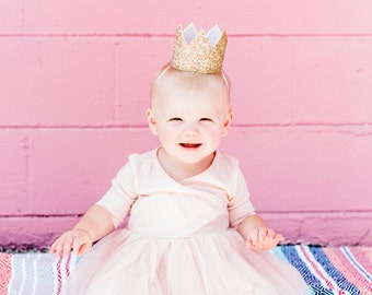 Glitter Crown Headband // Baby Girl Gold Birthday Crown Party Hat // Photo Prop Girl Birthday Gift