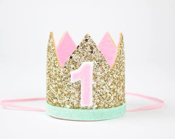 First Birthday Crown | Birthday Smash Cake Glitter Headband | 1st Birthday Hat | Pale Gold + Mint + Pink and White 1