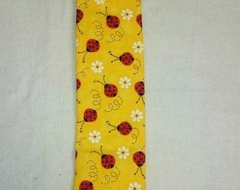 Daisies and Ladybugs Tie, Yellow Necktie, Red Ladybugs, White Daisies Necktie, Dizzy Ladybugs Necktie