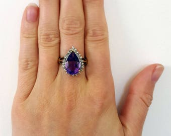 9ct Yellow/White Gold Pear Shaped Amethyst & Diamond Cluster Ring