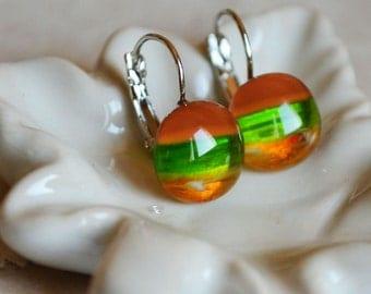 Caramel and green fused glass dangle earrings