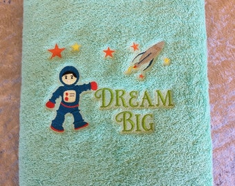 Bath Towel – Embroidered – Space Theme – Dream Big – Green