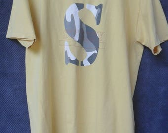 Vintage Stussy T Shirt//Big Camo Logo//Made in USA//Single Stitch//Size L