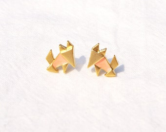 Fox Earrings, Origami Fox Earrings, Origami Fox Studs, Stud Earrings, Gold Fox Earrings, Silver Fox Earrings,  Fox Stud Earrings