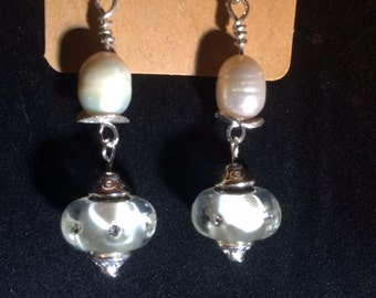 White and crystal, Mother of pearl, sterling earrings