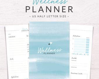 Wellness Planner | US HALF LETTER • Health & Fitness • Wellbeing Planner • Health Journal • Workout Planner • Printable Inserts