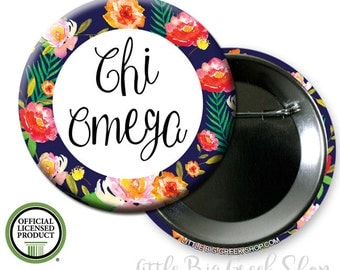 "Chi Omega // Chi O // Floral Single or Bulk 2.25"" Pinback Button"
