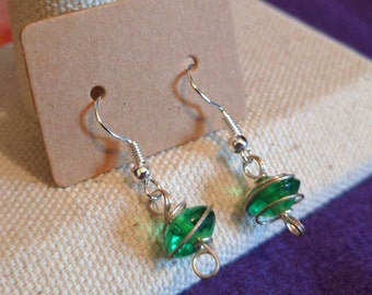 Wire Wrapped Dangle Earrings in Forest Green or Light Green