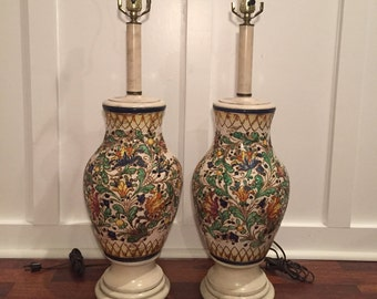 REDUCED!!! Pair of ITALIAN Mid Century Clay Handpainted LAMPS- Desk lamps, home decor, bedside lamps, lamp, mid century modern