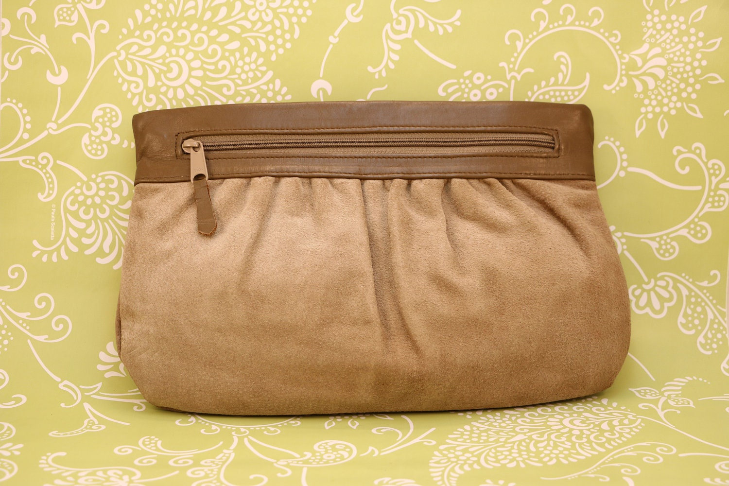 a662dda4701d Brown suede clutch 1980 s vintage Letisse with pleating and in excellent  condition.