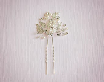 Bridal hair pin, Leaf hair pin, Rhinestone hair pin, Bridesmaids hair, Flower hair pin, Silver hair pin, Crystal leaf hair pin