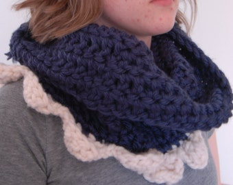 Navy and Cream Scalloped Cowl