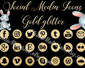 Glitter Gold Social Media Icons Social Media Buttons Gold Social Icons Blog Icons Website Branding Blog Buttons Gold Glitter Icons