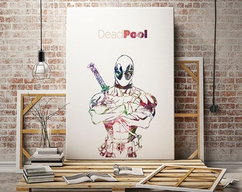 Deadpool poster for men for kids party home decor wade wilson print wall art quote marvel paint canvas