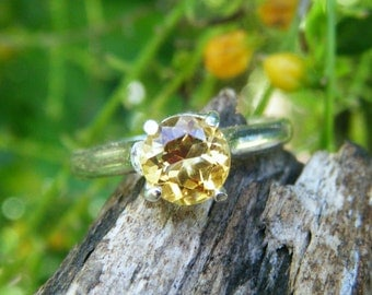 Citrine ring, solid sterling silver, large gemstone stacking ring, 6mm natural citrine, yellow wedding party jewelry, bridesmaid gift, stack