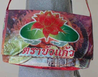 Upcycled messenger bag handcrafted from recycled lotus leaf rice bag