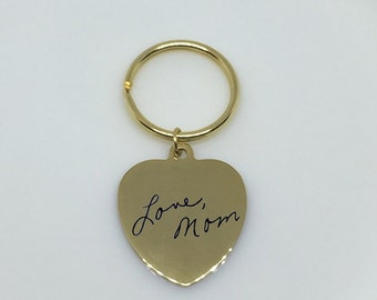 Engraved Handwriting Keychain, Signature Keychain, Engraved Signature Handwriting, Engraved Heart Keychain, Custom Handwriting Keychain