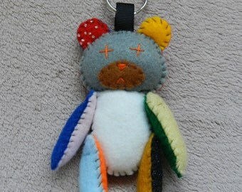 Felt mash-up Teddy Bear keychain
